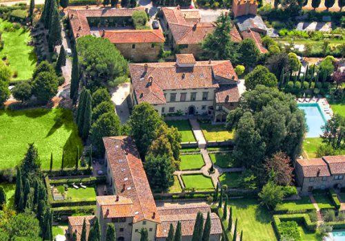 Aerial View of Villa di Piazzano, Sister Hotels Monastero di Cortona Hotel & Spa - Hotel Cortona Tuscany